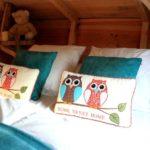 coussins et tete de lit de l'escarcelle